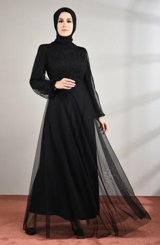 Güpürlü Tül Abiye Elbise 5217-02 Siyah