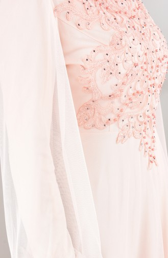 Guipure Tulle Evening Dress Salmon Color 5217-04