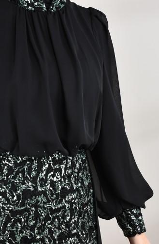 Pailletten Abendkleid 5230-01 Schwarz Grün 5230-01