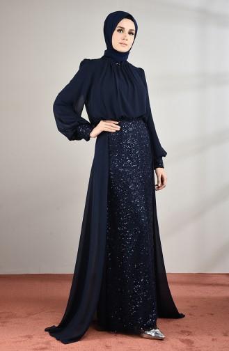 Robe de Soirée à Paillettes 5230-03 Bleu Marine 5230-03