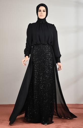 Sequined Evening Dress Black 5230-04