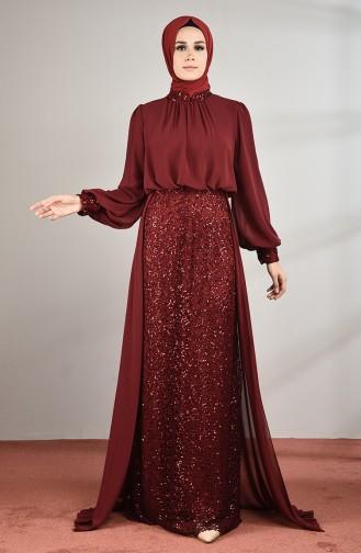 Payetli Abiye Elbise 5230-05 Bordo