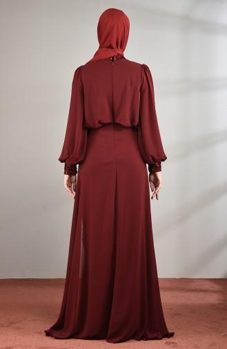 Claret red Islamic Clothing Evening Dress 5230-05