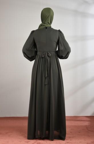 Lace Detailed Chiffon Evening Dress Khaki 5233-04