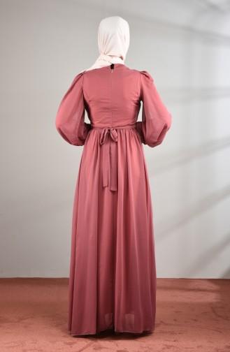Lace Detailed Chiffon Evening Dress Rose Dried 5233-05