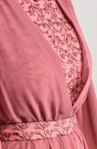 Dantel Detaylı Şifon Abiye Elbise 5233-05 Gül Kurusu