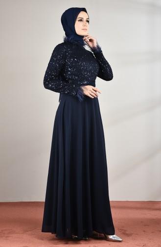 Tüylü Abiye Elbise 5237-03 Lacivert