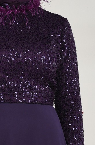 Feather Evening Dress Purple 5237-04