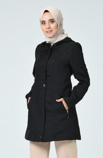 Manteau Court à Capuche 0757-01 Noir 0757-01
