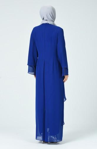 Robe de Soirée İmprimée de Pierre Grande Taille 6288-01 Bleu Roi 6288-01