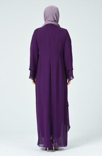 Robe de Soirée İmprimée de Pierre Grande Taille 6288-02 Plum 6288-02