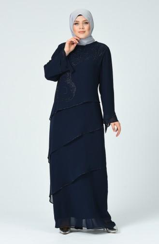 Robe de Soirée İmprimée de Pierre grande Taille 6288-03 Bleu Marine 6288-03