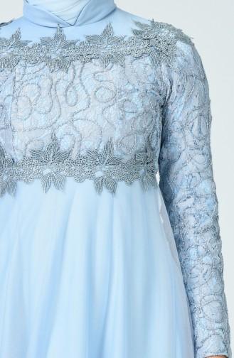 Robe de Soirée à Dentelle 5218-05 Bleu Bébé 5218-05