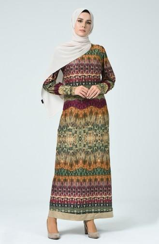 Khaki Hijap Kleider 1333-02