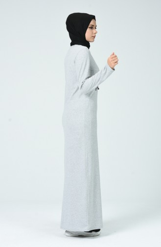 Nakışlı Elbise 3115-06 Gri