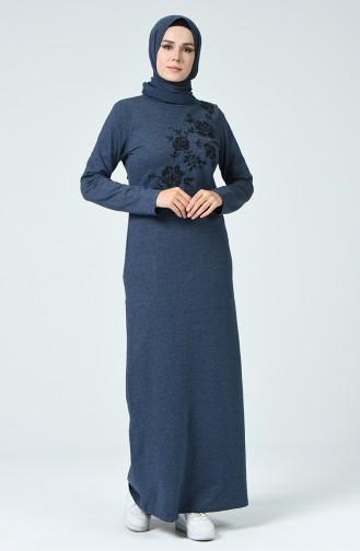 Nakışlı Elbise 3115-07 İndigo
