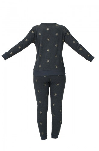 Ensemble Pyjama à Motifs Étoile Pour Femme MBY1539 Gris Melanj 1539