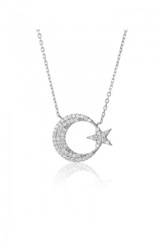Gümüş Renk Sade Ay Yıldız Kadın Kolye OG90Gümüş