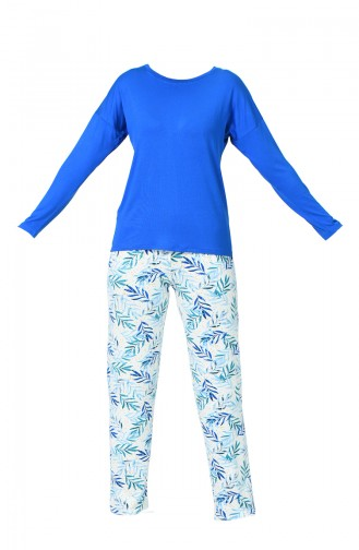 Ensemble Pyjama à Manches Longues Pour Femme MBY1006-01 Bleu 1006-01