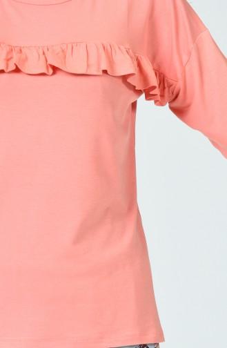 Ensemble Pyjama Détail Froufrous Manches Longues Pour Femme MBY1532-01 Orange 1532-01