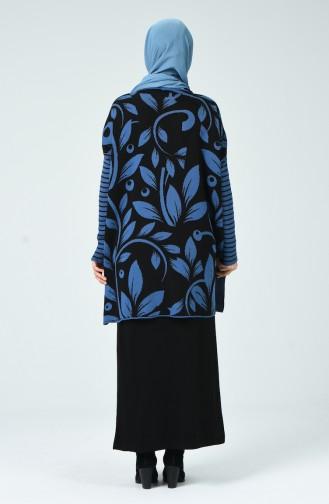 Triko Desenli Tunik Etek İkili Takım 8011-03 İndigo