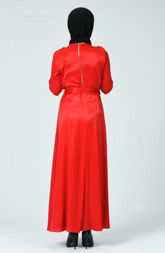Beli Kuşaklı Elbise 191009-01 Kırmızı
