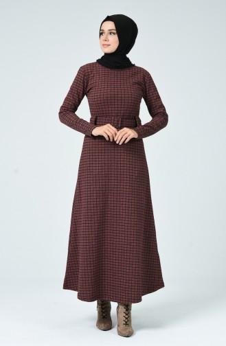 Robe Hivernale à Carreaux 0017-04 Rose Pâle 0017-04