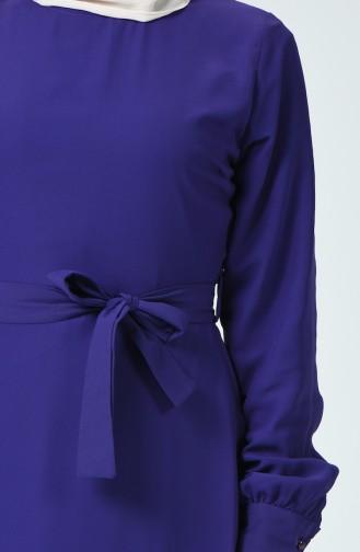 Kuşaklı Şifon Elbise 1712-03 Mor