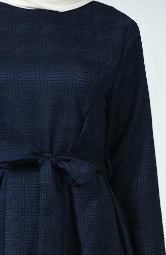 Robe à Ceinture Jacquard 60079-08 Bleu Marine 60079-08