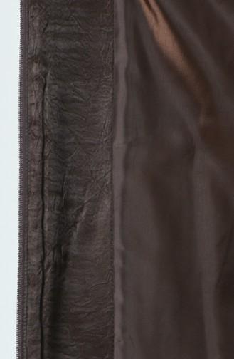 سترة مبطنة مزينة بالفرو بني مائل للرمادي 1970-01