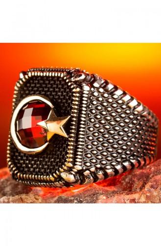 Ay Yıldız Zirkon Taşlı Gümüş Yüzüğü OZT-062 Kırmızı 062