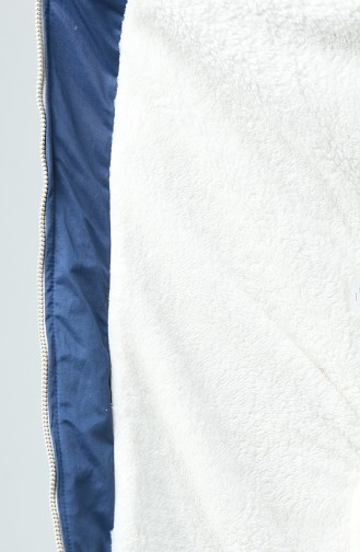 Manteau à Glissière Doublé de Fourrure 1031-01 İndigo 1031-01