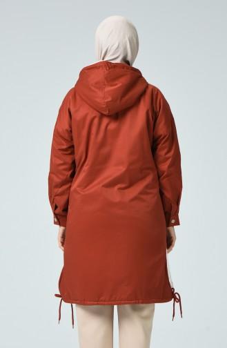 Manteau à Glissière Doublé de Fourrure 1031-02 Brique 1031-02
