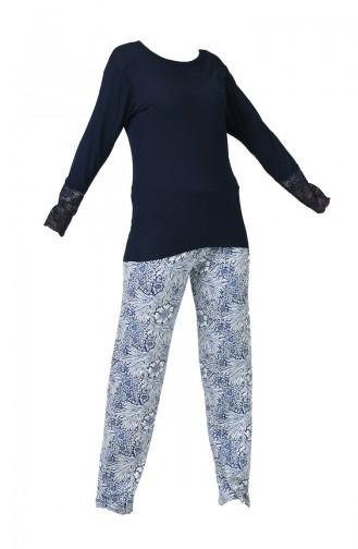 Ensemble Pyjama à Détail Manches Longues Pour Femme MBY1004-01 Bleu Marine 1004-01