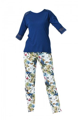 Ensemble Pyjama à Motifs Pour Femme MBY1530-01 Bleu Marine 1530-01