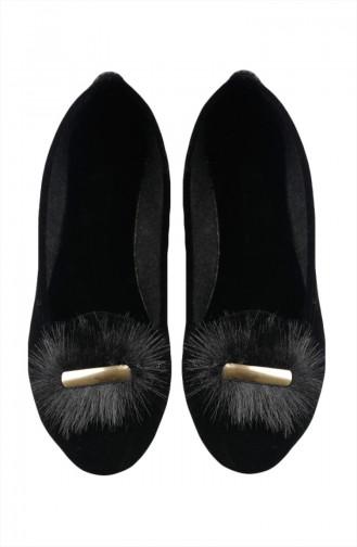 حذاء مسطح 0110-01 لون أسود شامواه 0110-01