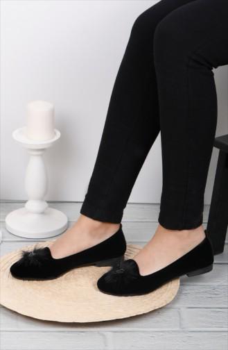 حذاء مُسطح باليرينا 0111-01 لون اسود شامواه 0111-01
