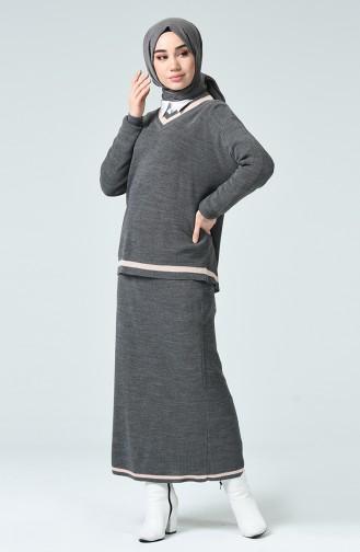 Triko Kazak Etek İkili Takım 8012-01 Gri