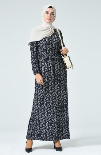 Desenli Kuşaklı Elbise 8852-01 Lacivert