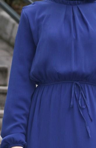 Robe Froncée Taille Élastique 8037-14 İndigo 8037-14