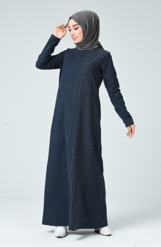 Plaid Topped Dress 3163-05 Navy Blue 3163-05
