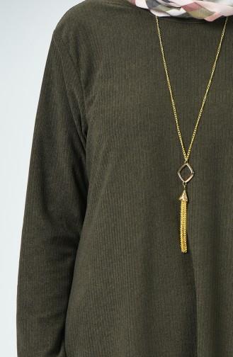 Tunique Velours Avec Collier 0031-01 Khaki 0031-01