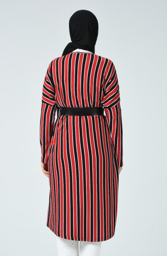Çizgili Uzun Tunik 7963-01 Kırmızı Siyah