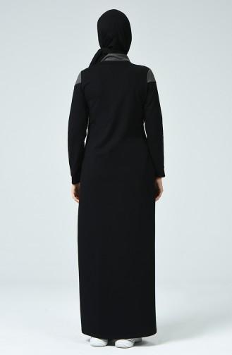 Zippered Sports Abaya Black 9125-01