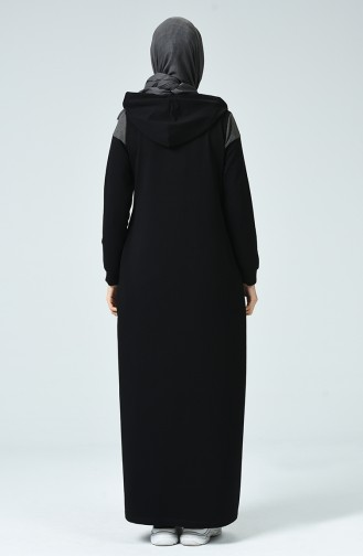 Hooded Sport Abaya Black 9126-01