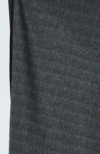Büyük Beden Desenli Kışlık Ferace 3002A-05 Siyah