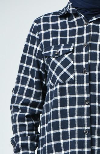 Chemise Bûcheron à Poche Grande Taille 1026-03 Bleu Marine Blanc 1026-03
