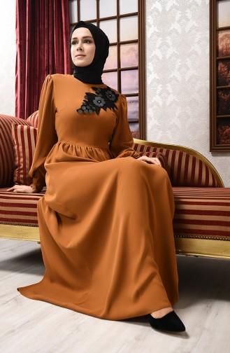 فساتين سهرة بتصميم اسلامي أصفر خردل 8031-01