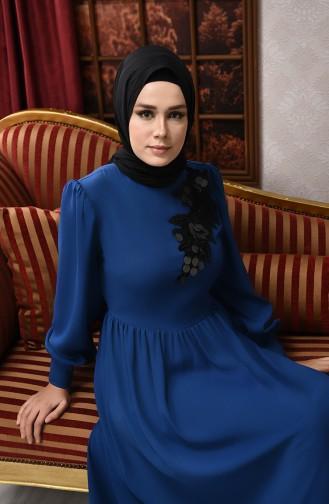 Oil Blue Islamic Clothing Evening Dress 8031-07