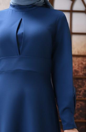 Robe Évasée à Détail Sur le Devant 2704-03 İndigo 2704-03